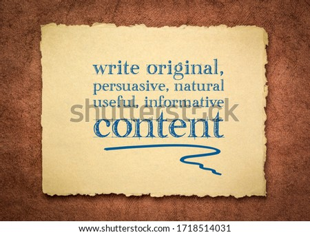 write original, persuasive, natural, useful, informative content - creating content advice - text on a handmade rag paper Foto stock ©
