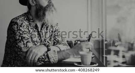 Writer Bar Counter Beard Mustache Cafe Coffee Concept #408268249