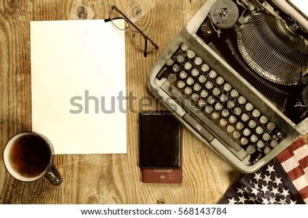 writer desktop with typewriter retro #568143784