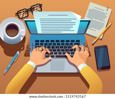 Writer writes document. Journalist create storytelling with laptop. Hands typing on computer keyboard. Story writing concept