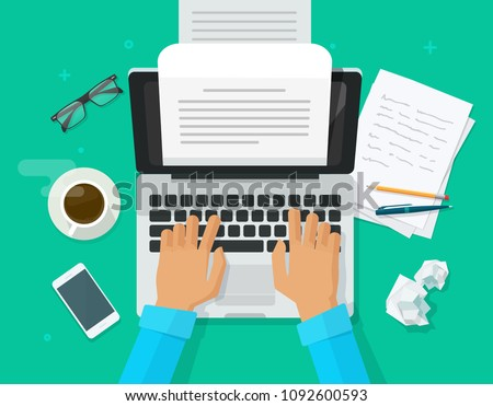 Writer writing on computer paper sheet illustration, flat cartoon person editor write electronic book text top view, laptop with writing letter or journal, journalist author working image