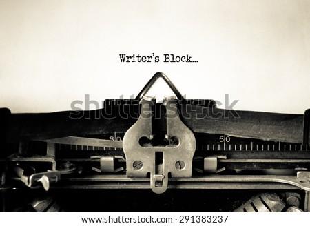 Writers Block typed words on a Vintage Typewriter\n