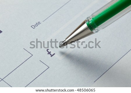 Writing a check with green ink