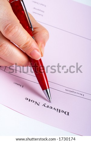 Writing blank delivery note with pen on white background
