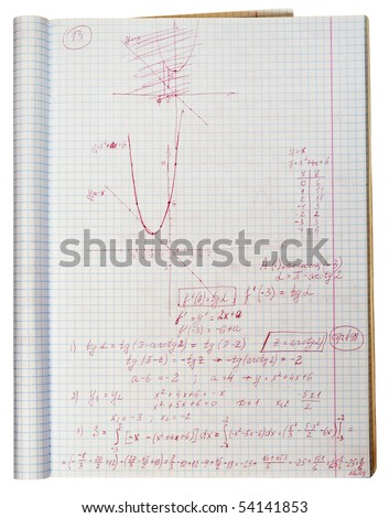 Writing-book of the schoolboy with the decision of a difficult mathematical problem texture background. With patch.