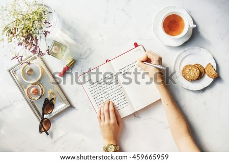 Writing Diary Tea Snacks Concept