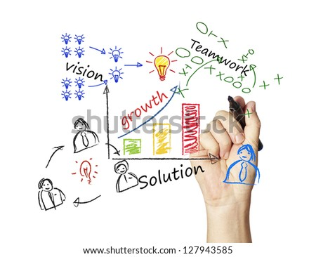 writing growth graph - stock photo