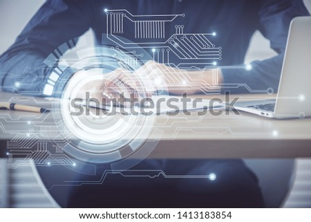Writing human hands with tech theme multi exposure icons. #1413183854