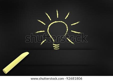 writing light bulb on chalkboard