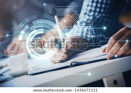 Writing man's hands background with technology icons. #1436671121
