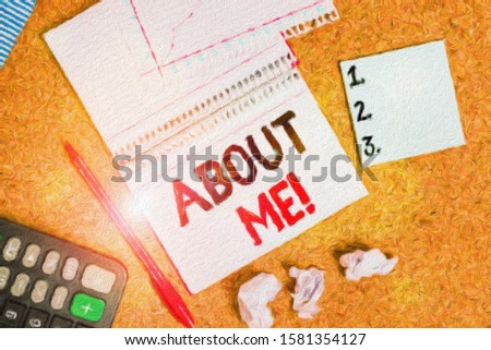 Writing note showing About Me. Business photo showcasing telling someone list of your good and bad traits and past events Desk notebook paper office paperboard study supplies chart.