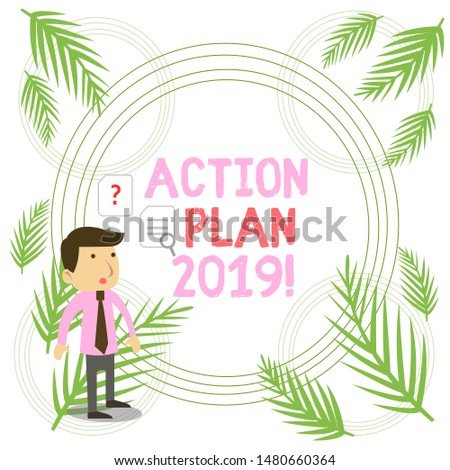 Writing note showing Action Plan 2019. Business photo showcasing proposed strategy or course of actions for current year Young Male Businessman Worker Searching Problem Solution.