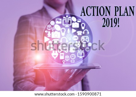 Writing note showing Action Plan 2019. Business photo showcasing proposed strategy or course of actions for current year.