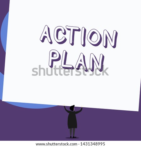 Writing note showing Action Plan. Business photo showcasing proposed strategy or course of actions for certain time Standing short hair woman dress hands up holding rectangle.