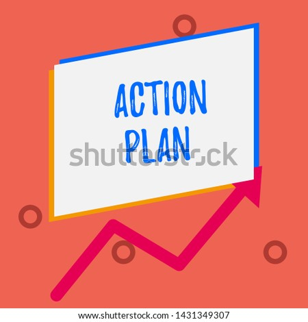 Writing note showing Action Plan. Business photo showcasing proposed strategy or course of actions for certain time One blank rectangle above another arrow zigzag upwards increasing sale.