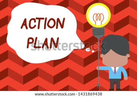 Writing note showing Action Plan. Business photo showcasing proposed strategy or course of actions for certain time Standing man tie holding plug socket light bulb Idea Startup.