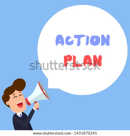 Writing note showing Action Plan. Business photo showcasing proposed strategy or course of actions for certain time Young Man Shouting in Megaphone Floating Round Speech Bubble.