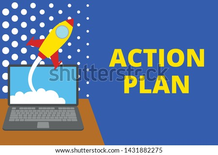 Writing note showing Action Plan. Business photo showcasing proposed strategy or course of actions for certain time Successful rocket launching laptop background Startup grow.