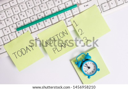 Writing note showing Action Plan. Business photo showcasing proposed strategy or course of actions for certain time. #1456958210