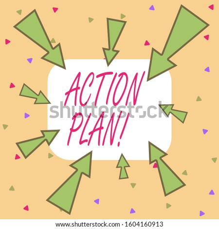 Writing note showing Action Plan. Business photo showcasing proposed strategy or course of actions for certain time Asymmetrical uneven shaped pattern object multicolour design.