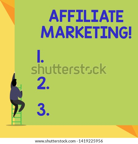 Writing note showing Affiliate Marketing. Business photo showcasing Promoting another demonstratings product Earning a Commission Back view Man climbing up staircase ladder lying big blank rectangle.