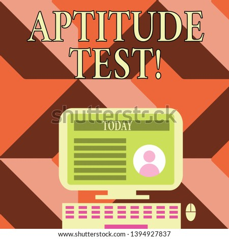 Writing note showing Aptitude Test. Business photo showcasing designed to determine a demonstrating s is ability in a particular skill Computer Mounted on Stand with Online Profile Data on Screen.