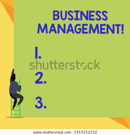 Writing note showing Business Management. Business photo showcasing Overseeing Supervising Coordinating Business Operations Back view Man climbing up staircase ladder lying big blank rectangle.