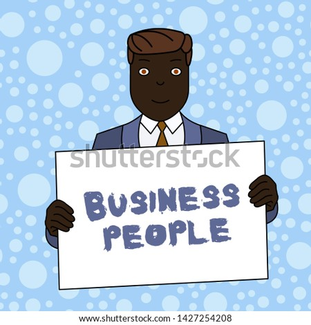 Writing note showing Business People. Business photo showcasing People who work in business especially at an executive level Smiling Man Holding Suit Poster Board in Front of Himself.