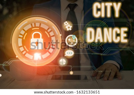 Writing note showing City Dance. Business photo showcasing activity of dancing for pleasure or in order to entertain others.
