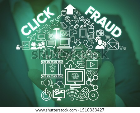 Writing note showing Click Fraud. Business photo showcasing practice of repeatedly clicking on advertisement hosted website Male wear formal work suit presenting presentation smart device. #1510333427