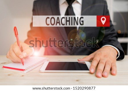 Writing note showing Coaching. Business photo showcasing demonstrating supports client in achieving specific demonstratingal goal.