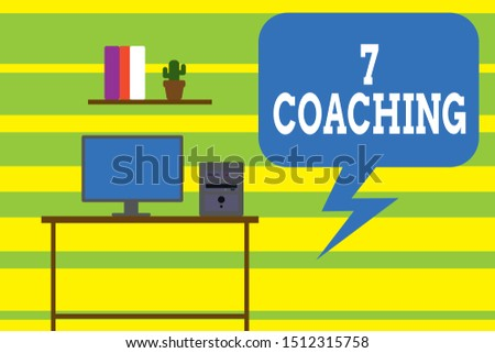 Writing note showing 7 Coaching. Business photo showcasing Refers to a number of figures regarding business to be succesful Desktop computer with wooden table shelf books flower pot.
