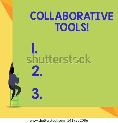 Writing note showing Collaborative Tools. Business photo showcasing Private Social Network to Connect thru Online Email Back view Man climbing up staircase ladder lying big blank rectangle.