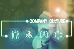 Writing note showing Company Culture. Business photo showcasing pervasive values and attitudes that characterize a company.