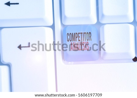 Writing note showing Competitor Analysis. Business photo showcasing assessment of the strengths and weaknesses of rival firm.