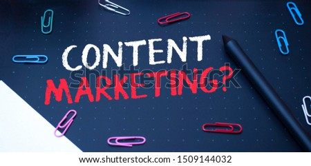 Writing note showing Content Marketing Question. Business photo showcasing involves creation and sharing of online material Scissors and writing equipments plus math book above textured backdrop. #1509144032