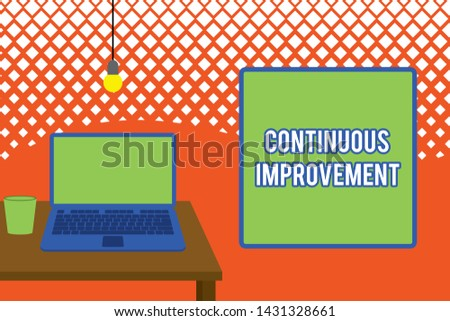 Writing note showing Continuous Improvement. Business photo showcasing ongoing effort to improve products or processes Front view open laptop lying on wooden desktop light bulb falling glass.