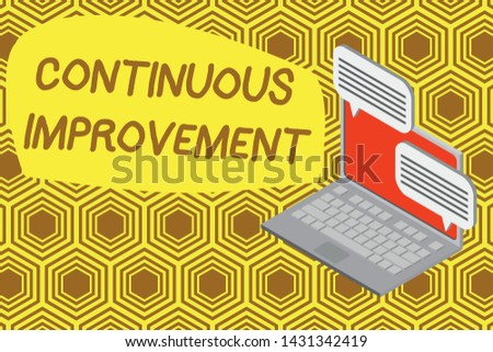 Writing note showing Continuous Improvement. Business photo showcasing ongoing effort to improve products or processes Laptop receiving sending information internet wireless.