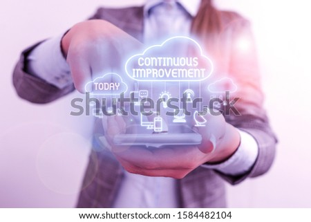 Writing note showing Continuous Improvement. Business photo showcasing ongoing effort to improve products or processes.