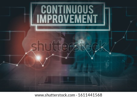 Writing note showing Continuous Improvement. Business photo showcasing ongoing effort to improve products or processes Woman wear formal work suit present using smart latest device.