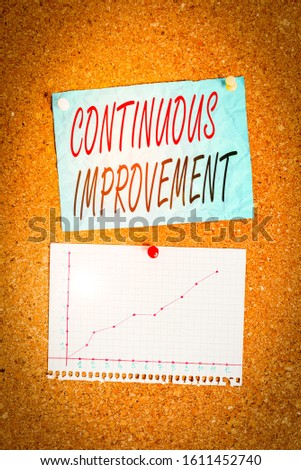Writing note showing Continuous Improvement. Business photo showcasing ongoing effort to improve products or processes Corkboard size paper thumbtack sheet billboard notice board.