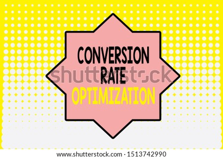 Writing note showing Conversion Rate Optimization. Business photo showcasing system for increasing percentage of visitors Vanishing dots middle background design. Gradient Pattern. Futuristic.