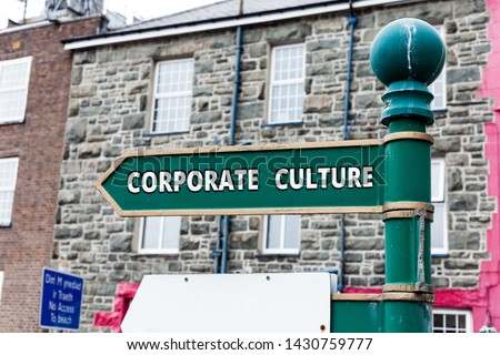 Writing note showing Corporate Culture. Business photo showcasing pervasive values and attitudes that characterize a company. #1430759777