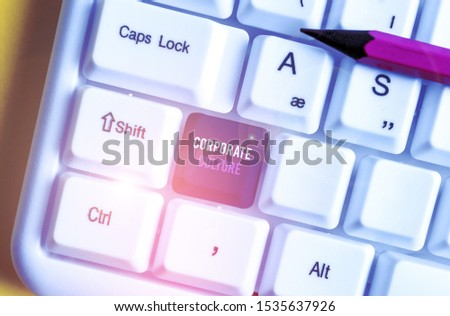 Writing note showing Corporate Culture. Business photo showcasing pervasive values and attitudes that characterize a company White pc keyboard with note paper above the white background.