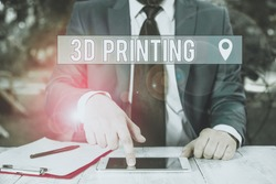 Writing note showing 3D Printing. Business photo showcasing making a physical object from a threedimensional digital model Businessman with pointing finger in front of him.