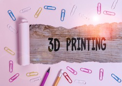 Writing note showing 3D Printing. Business photo showcasing making a physical object from a threedimensional digital model.