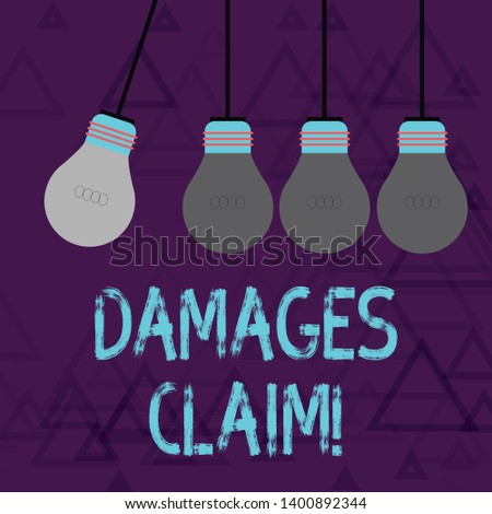 Writing note showing Damages Claim. Business photo showcasing Deanalysisd upon the insurer for compensation for a damage Color Pendant Bulb Hanging with One Different Shade Lightbulb.