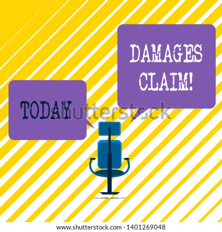 Writing note showing Damages Claim. Business photo showcasing Deanalysisd upon the insurer for compensation for a damage.