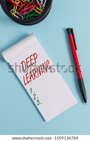 Writing note showing Deep Learning. Business photo showcasing Hierarchical Abstractions Artificial Intelligence Algorithm Notebook and stationary with mouse above pastel backdrop.