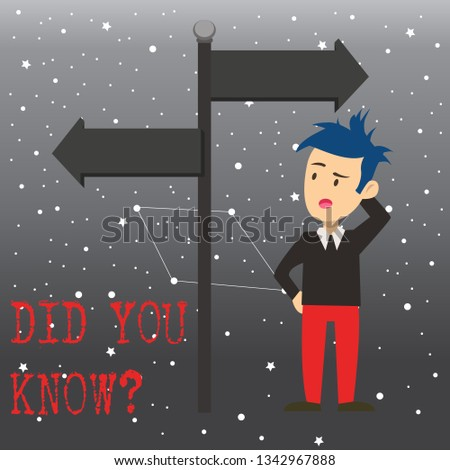 Writing note showing Did You Know Question. Business photo showcasing when you are asking someone if they know fact or event Man Confused with Road Sign Pointing to Opposite Direction.